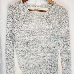 Ann Taylor LOFT Cream & Gray Sweater SzM